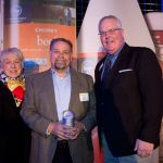 Bill Dankworth wins Bob Edwards Volunteer of the Year Away with Sylvia Edwards and Kurt Reiber