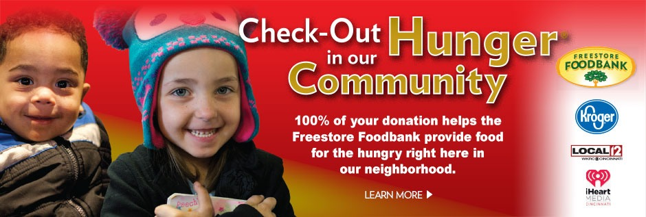 Check-out Hunger in our Community - 100% of your donation helps the Freestore Foodbank provide food for the hungry right here in our neighborhood.