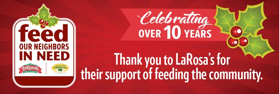 Thank you to LaRosa's for their support of feeding the community
