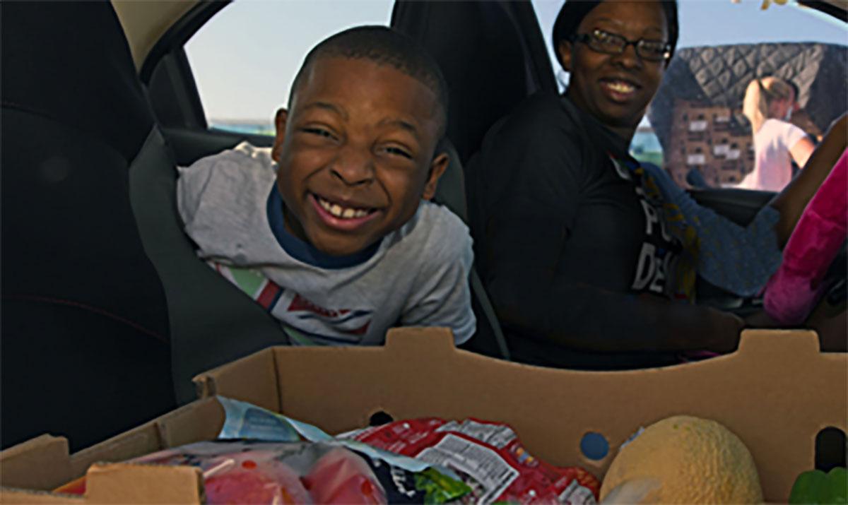 weekly drive-up food distribution
