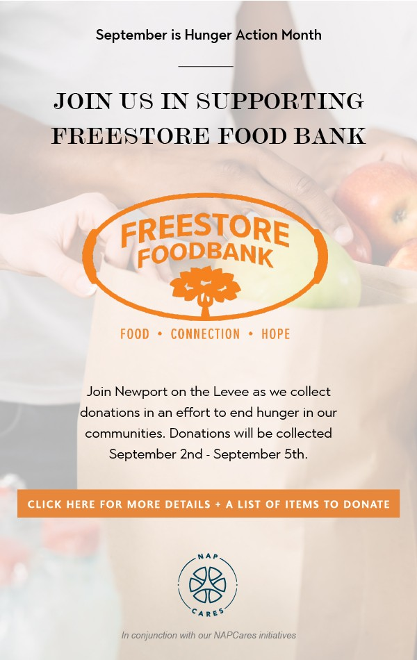 Newport on the Levee supports Freestore Foodbank